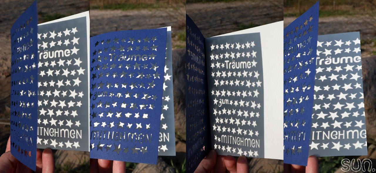 Grußkarte mit Sternen geplottet mit der Cameo